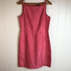 Anne Taylor Coral Beaded Silk Shirt Dress